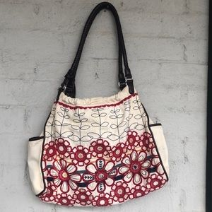 Brighton embroidered canvas bag w leather straps